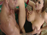 Brutal bald dude with six cubes poking crummy Katie Kox from behind