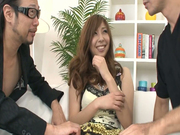 Beautiful and big titted Asian chick is a distracted cock sucker