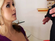 Handsome blonde guy makes Sarah Vandella deepthroat his dick