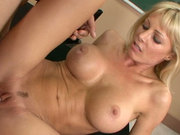 Brazen hussy Holly Sampson as a school teacher fucking her student in a class