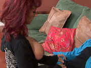 Hot red haired Nikki sucks a strong cock