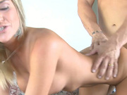 Furious fuck with blonde slut Mckenzie Miles on a leather couch