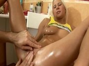 Beautiful Oiled Up Blonde Gets Her Holes Stretched with Fingers and Toys