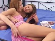 Two sexy cuties share a dildo after pleasing each other with cunnilingus