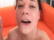 Hot brunette slut with big tits cum in her mouth