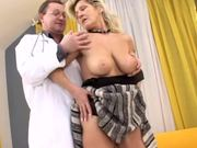 Naughty blond grandma is riding grandpa's hard cock