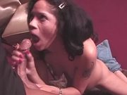 Busty honey gets that huge cock in her mouth