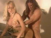 Horny blonde girl rides big dick like wild animal