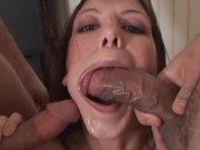 Alicia Alighatti sucks two fat cocks and gets her mouth filled with cum