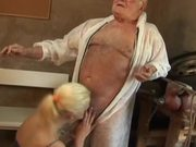 Cute Blonde Teen Gives An Old Dude A Great Blowjob