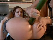 Sexy Cleaning Lady gets Fucked with a Strapon