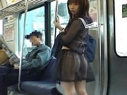 Mikan Hot Asian Girl is on the train in her hot sexy blue dress
