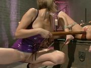 Lesbian Dominatrix Having Fun With a Gorgeous and Busty Blonde Babe