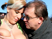Hot girl with car trouble banged by old guy