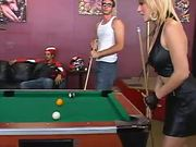 Blonde Slut Rides A Hard Dick In A Pool Hall