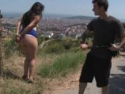 Hot Ass Brunette Shows Her Big Natural Tits As She Gets Pounded In Public