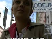 Czech Teen Showing Her Big Natural Tits and Giving a Blowjob in Public
