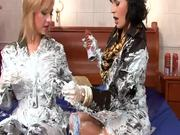 Blonde and Brunette Getting Wet and Messy with Cream
