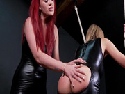 Kinky leather and latex lesbian sex