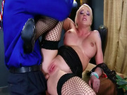 Sexy blonde Leya Falcon fishnets anal