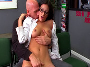 Glasses and stockings on fucked babe
