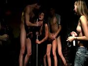 Teens have group sex around stripper pole