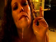Smoking cocksucker takes a facial on video