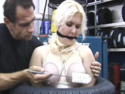 Clothes pins on tied up fat girl tits