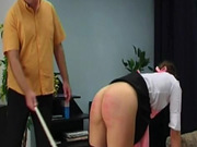Naughty maid caned on the ass