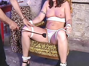 Gagged girl body bent in bondage