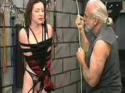 Master fucks his bound sub girl with small tits