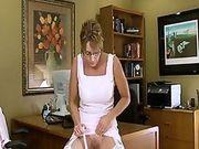 Mature Cougar Office Masturbation