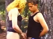 Young guy fucks tranny outdoors