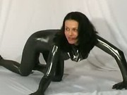 Cute rubber babe streching sex
