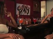 Two black lesbian hotties toying