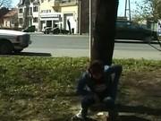 Teen peeing in public