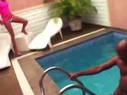 Crazy monster cock hard fuck at the pool and oral job