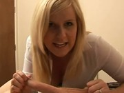 Blonde milf gives a harsh handjob