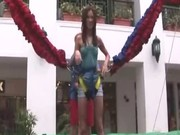 Erotic jumping of luxury brunette