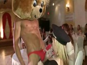 Women enjoying dancing bear strippers
