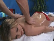 Teen blonde fucked during a massage