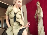 Sexy blonde Nesty Nice sucking and licking the guys cock and bal