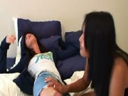 Asian chick playing with white girl