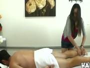 CFNM massage turns into a handjob