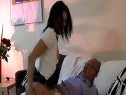 British babe swallowing old mans cum