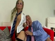 Stockings blonde sucks and fucks old man