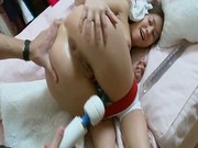 Cute milky skinned chick spreads legs