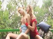 18yo lezzies make love outdoors