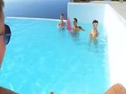 Three chicks sucking lucky guy in pool