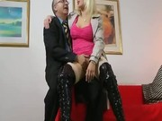Hot blonde masturbating for old man